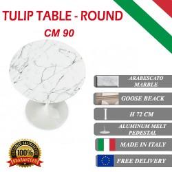 90 cm Tavolo Tulip Marbre Arabescato ronde