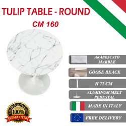 160 cm Tavolo Tulip Marbre Arabescato ronde