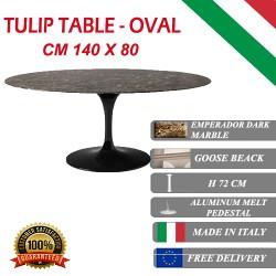 140 x 80 cm oval Tulip table - Emperador Dark marble