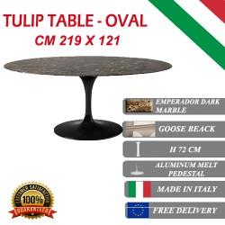 219 x 121 cm oval Tulip table - Emperador Dark marble