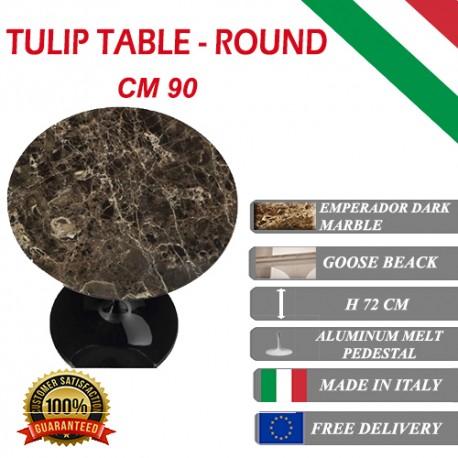90 cm Tavolo Tulip Marbre Emperador ronde
