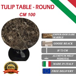 100 cm Table Tulip Marbre Emperador Dark ronde