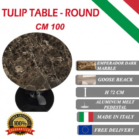 100 cm Tavolo Tulip Marmo Emperador rotondo