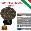 100 cm round Tulip table - Emperador Dark marble