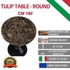 180 cm Table Tulip Marbre Emperador Dark ronde