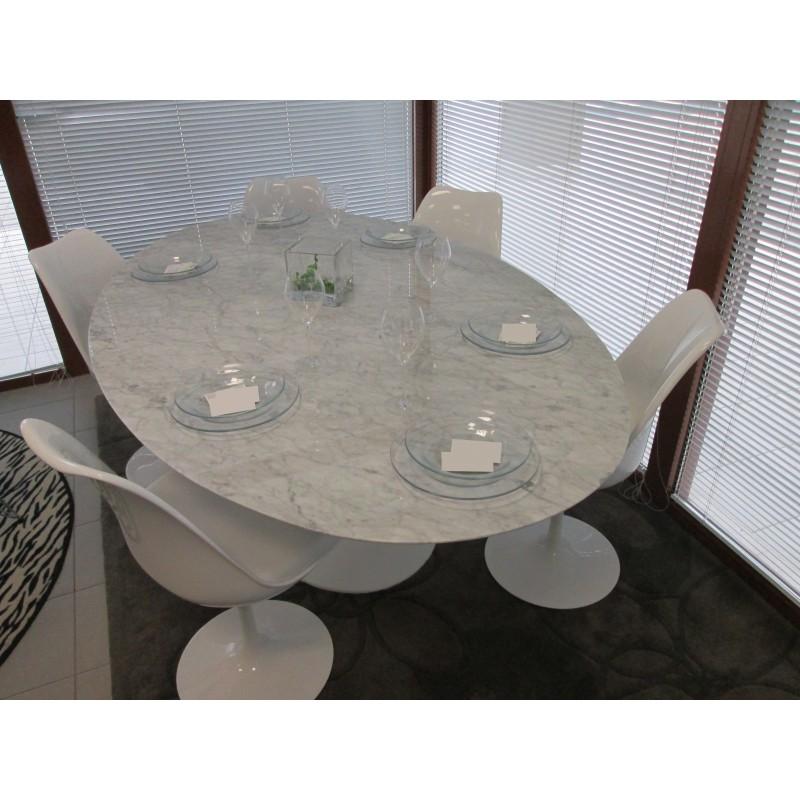 Tavolo Allungabile 140 X 140.140 X 80 Cm Oval Tulip Table Carrara Marble White Or Black Base