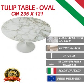 235 x 121 cm oval Tulip table - Gold Calacatta marble