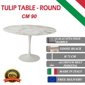 90 cm Table Tulip Marbre Calacatta Or ronde