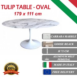 179 x 111 cm Table Tulip Marbre Carrara ovale