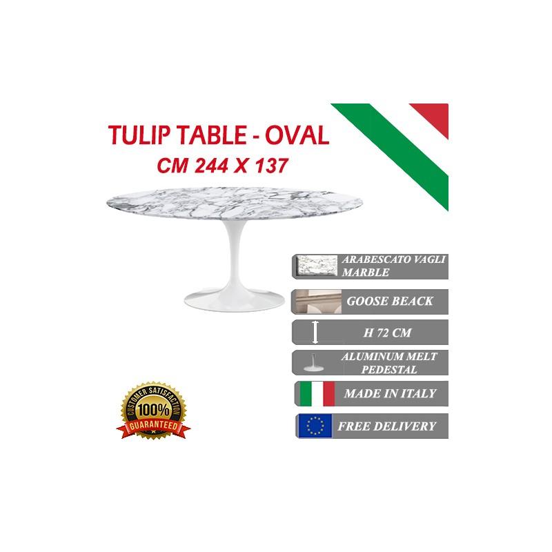 244 x 137 cm tavolo tulip marmo arabescato vagli ovale - Tavolo tulip ovale marmo ...