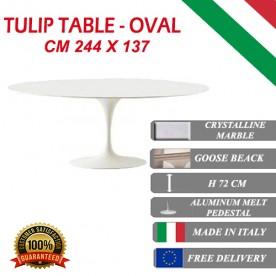 244 x 137 cm Table Tulip Marbre Cristallin ovale