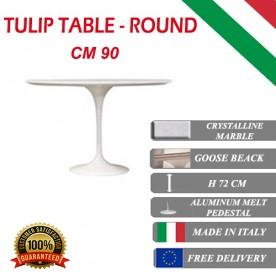 90 cm Tavolo Tulip Marmo Cristallino rotondo
