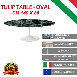 140 x 80 cm Table Tulip Marbre  Verte Alpes ovale