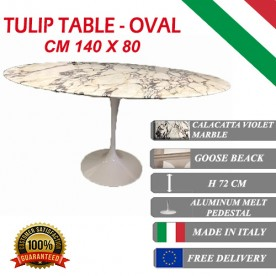 140 x 80 cm Tavolo Tulip Marmo Calacatta viola ovale