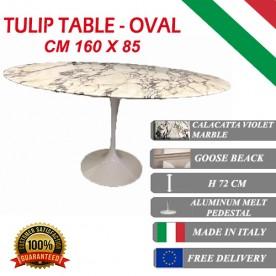 160 x 85 cm Tavolo Tulip Marmo Calacatta pourpre ovale