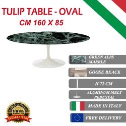 160 x 85 cm Table Tulip Marbre  Verte Alpes ovale