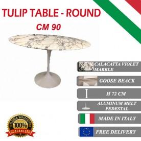 90 cm Tavolo Tulip Marmo Calacatta pourpre rotondo