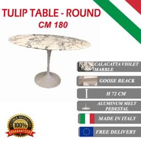 180 cm Tavolo Tulip Marmo Calacatta pourpre rotondo