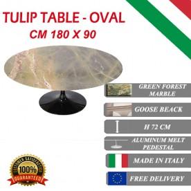180x90 cm Table Tulip Marbre Verte ovale