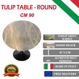 90 cm Tavolo Tulip Marbre Forêt verte ronde