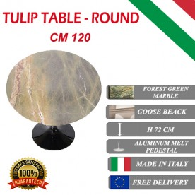 120 cm Tavolo Tulip Marbre Forêt verte ronde