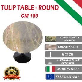 180 cm Tavolo Tulip Marbre Forêt verte ronde