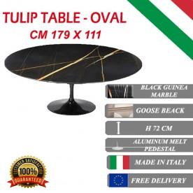 179x111 cm Table Tulip Marbre Noire Guinée ovale
