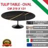 219x121 cm Table Tulip Marbre Noire Guinée ovale