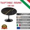 160 cm Table Tulip Marbre Noire Guinée ronde