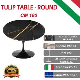 180 cm Table Tulip Marbre Noire Guinée ronde