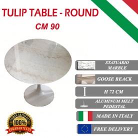 90 cm Tavolo Tulip Marbre Statuario ronde
