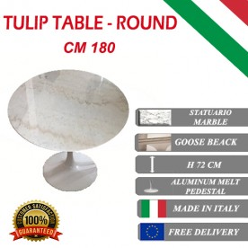 Tavolo Tulip Marbre Statuario ronde