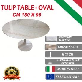 Tavolo Tulip Marmo Statuario ovale