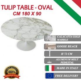 Tavolo Tulip Marmo Calacatta or ovale