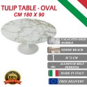 180 x 90 cm oval Tulip table - Gold Calacatta marble