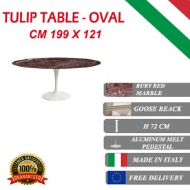 199 x 121 cm oval Tulip table - Ruby red marble marble