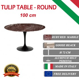 100 cm round Tulip table - Ruby red marble marble