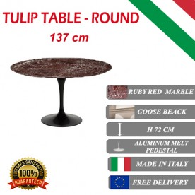 90 cm Tavolo Tulip Marbre ruby red ronde