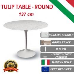 137 cm Tavolo Tulip Marmo Carrara rotondo