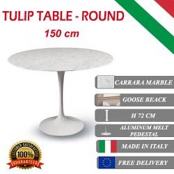 150 cm Tavolo Tulip Marmo Carrara rotondo