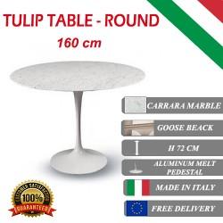 160 cm Tavolo Tulip Marmo Carrara rotondo