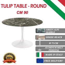 90 cm round Tulip table - Green Alps marble