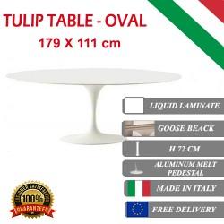 179 x 111 cm Table Tulip Laminé Liquide ovale