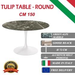 150 cm Tavolo Tulip Marmo Verde rotondo
