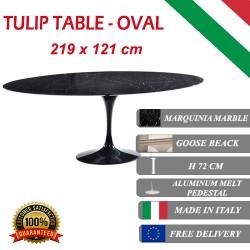 219 x 121 cm Tulip tafel Zwart Marquinia marmer ovaal