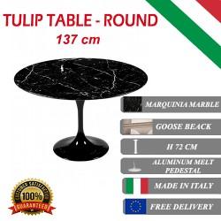 137 cm Tavolo Tulip Marbre Marquinia ronde