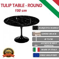 150 cm Tavolo Tulip Marmo Marquinia rotondo