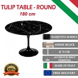 180 cm Tavolo Tulip Marmo Marquinia rotondo