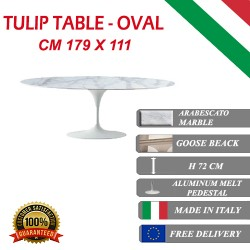 179 x 111 cm oval Tulip table - Arabescato marble